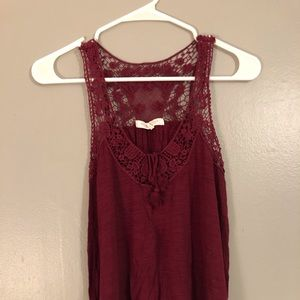 Lace Maroon Tank Top